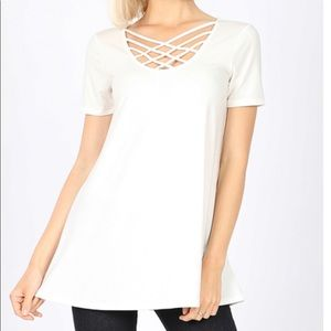 "NEW ""Leticia"" criss cross front detail top"